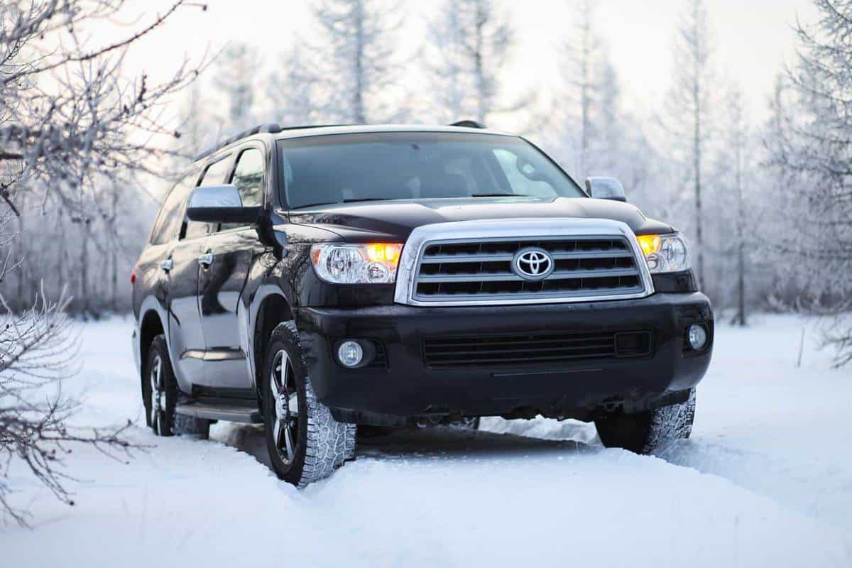 Driving a Toyota Sequoia in the snow