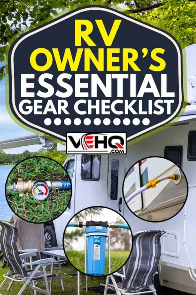 Holidays in summer at the lake with collage of rv essential gear list, RV Owner's Essential Gear Checklist
