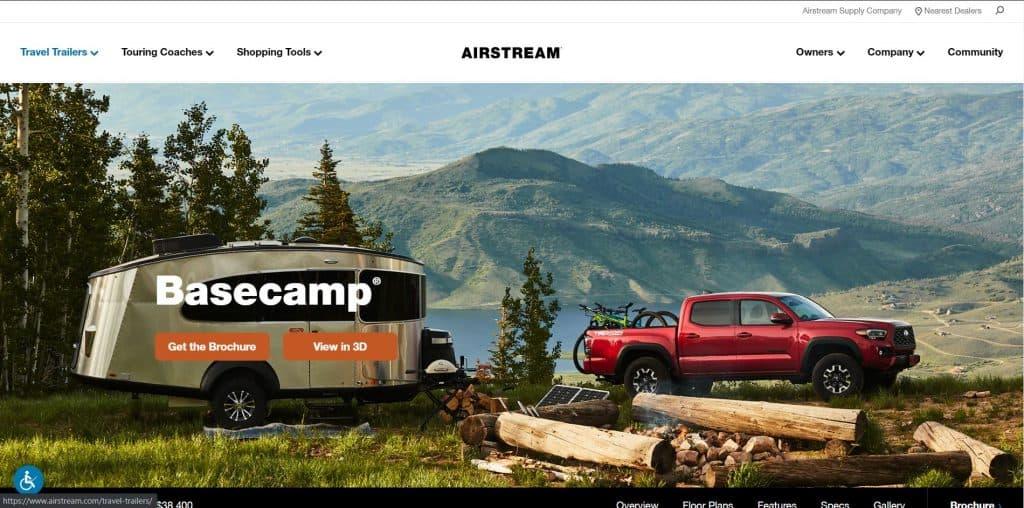 Airstream website homepage