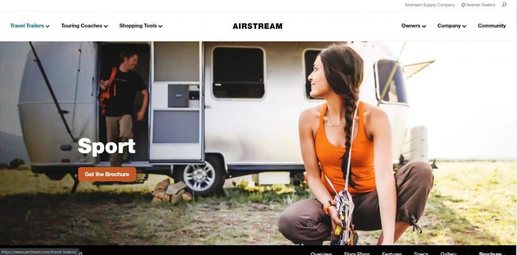 Airstream Sport website homepage