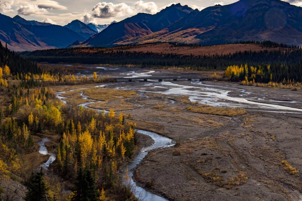 The gorgeous river of Teklanika in Alaska