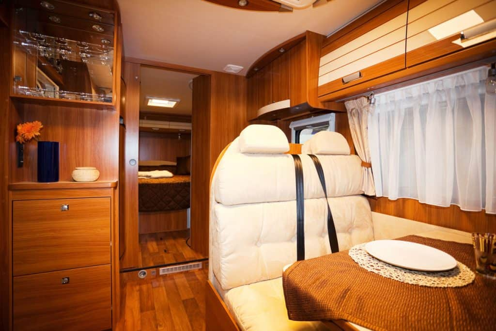 A wooden interior of a RV