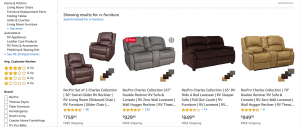 Amazon website product page for furniture