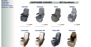 Discount RV Furniture website product page for furniture