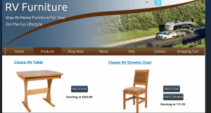 RV Furniture website product page for furniture