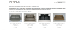 RV Furniture Center website product page for furniture