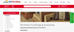 RV Part Shop website product page for furniture