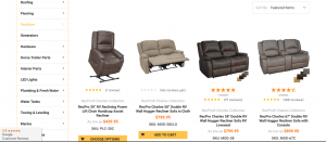 RecPro website product page for furniture
