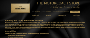 The Motorcoach Store website product page for furniture