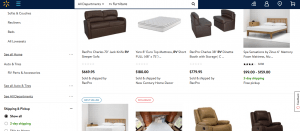 Walmart website product page for furniture