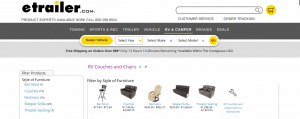 eTrailer website product page for furniture