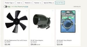 Wayfair's website product page for RV Parts