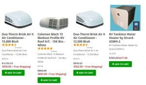 PPL Motorhomes's website product page for RV Parts