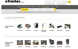 e-Trailer's website product page for RV Parts