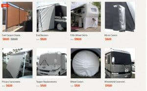RV shade shack's website product page for RV Parts