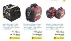 etrailer website product page for generators
