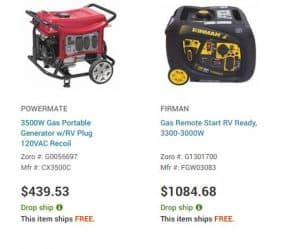 Zoro website product page for generators