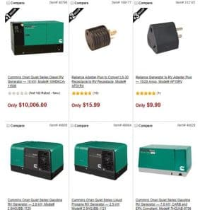Northern Tool website product page for generators