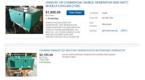 eBay website product page for generators