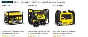 Amazon website product page for generators