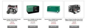AP Electric & Generators website product page for generators