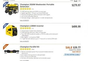 Cabela's website product page for generators