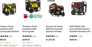 Lowe's website product page for generators