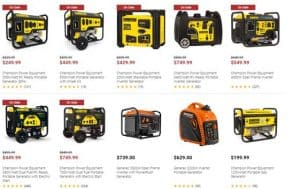 Farm and Fleet website product page for generators