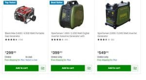 Sam's Club website product page for generators