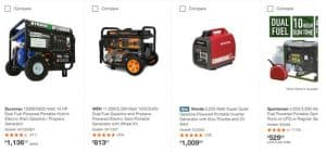 Home Depot website product page for generators