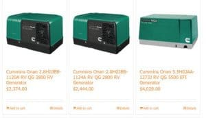 Backup Power Solutions website product page for generators