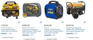 Costco website product page for generators