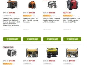 CPO Outlets website product page for generators