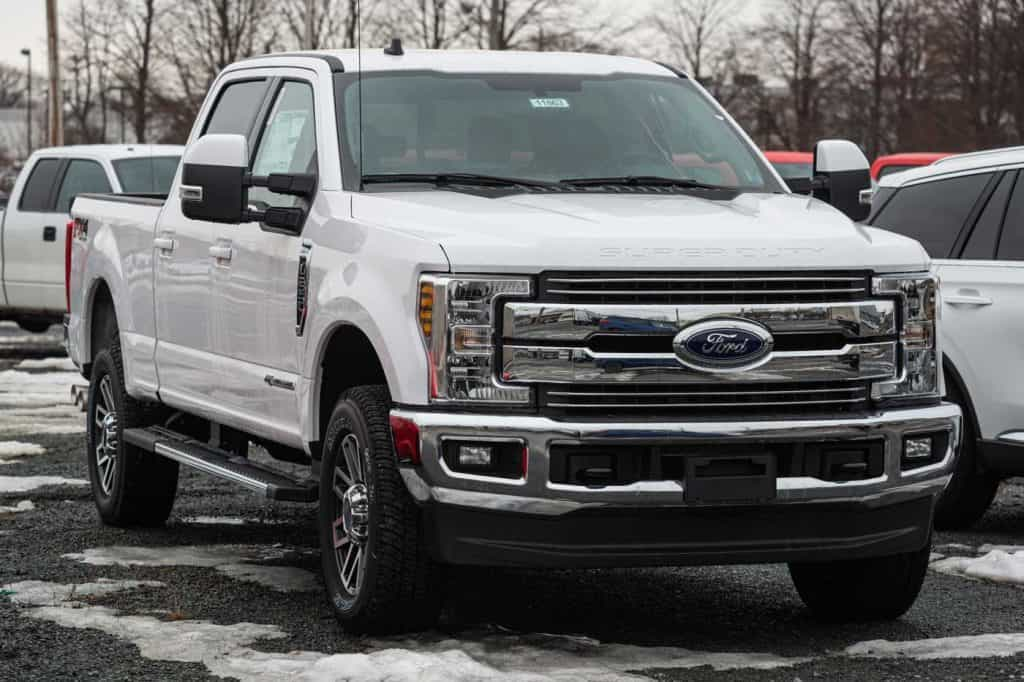 Ford F-250 pickup truck at a dealership in Halifax's North End.