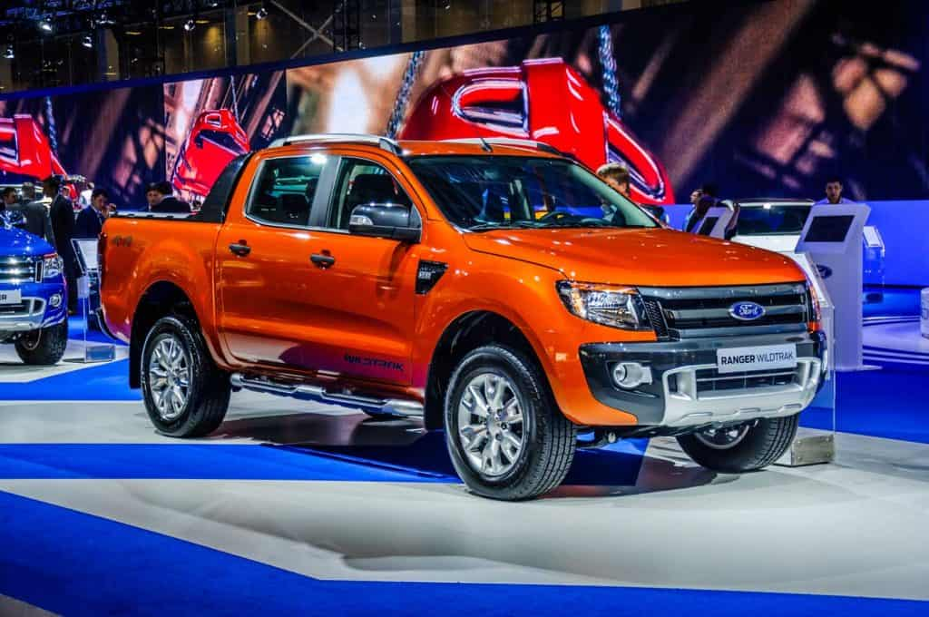 An orange Ford Ranger Wildtrak on display