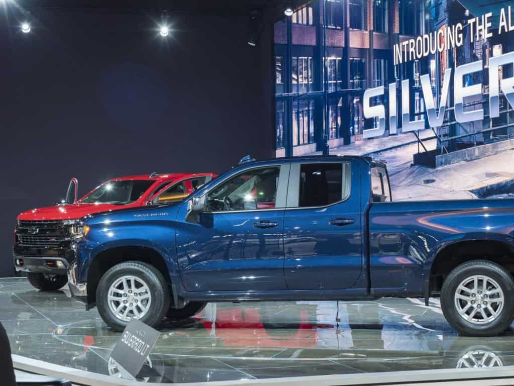 chevrolet Silverado on display during the North American International Auto Show at the Cobo Center in downtown Detroit.