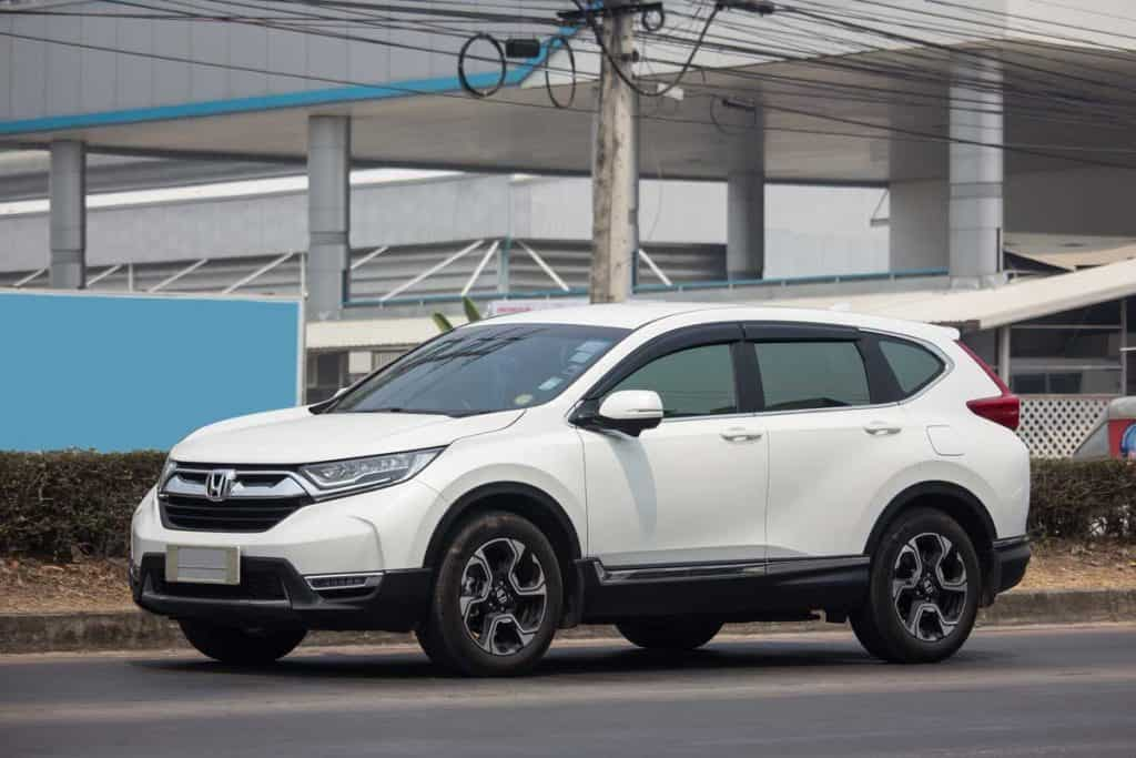 2019 White Honda CR-V on road