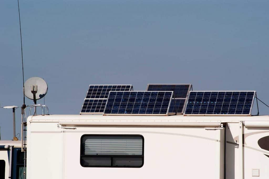 Camping RV with solar panels