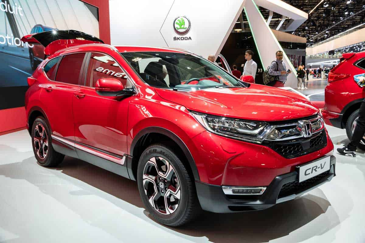 A stunning red Honda CRV display during motorshow