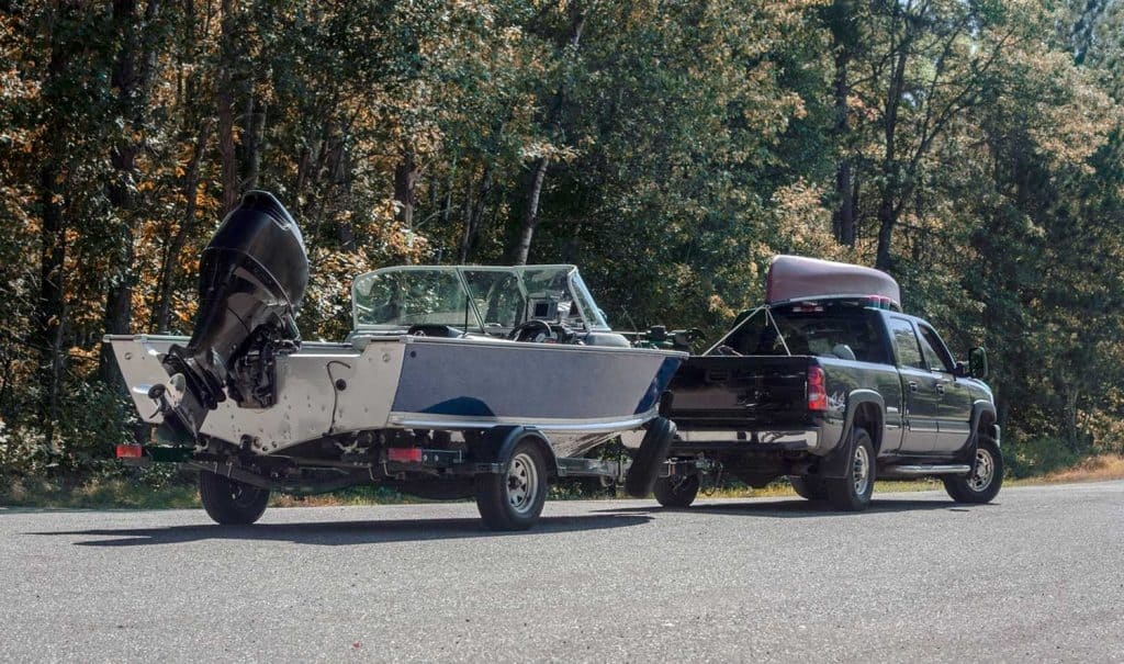 Truck towing a boat