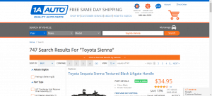 1A Auto Parts website product page for Toyota Sienna parts