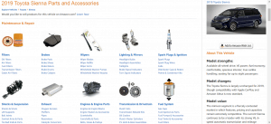 Amazon website product page for Toyota Sienna parts