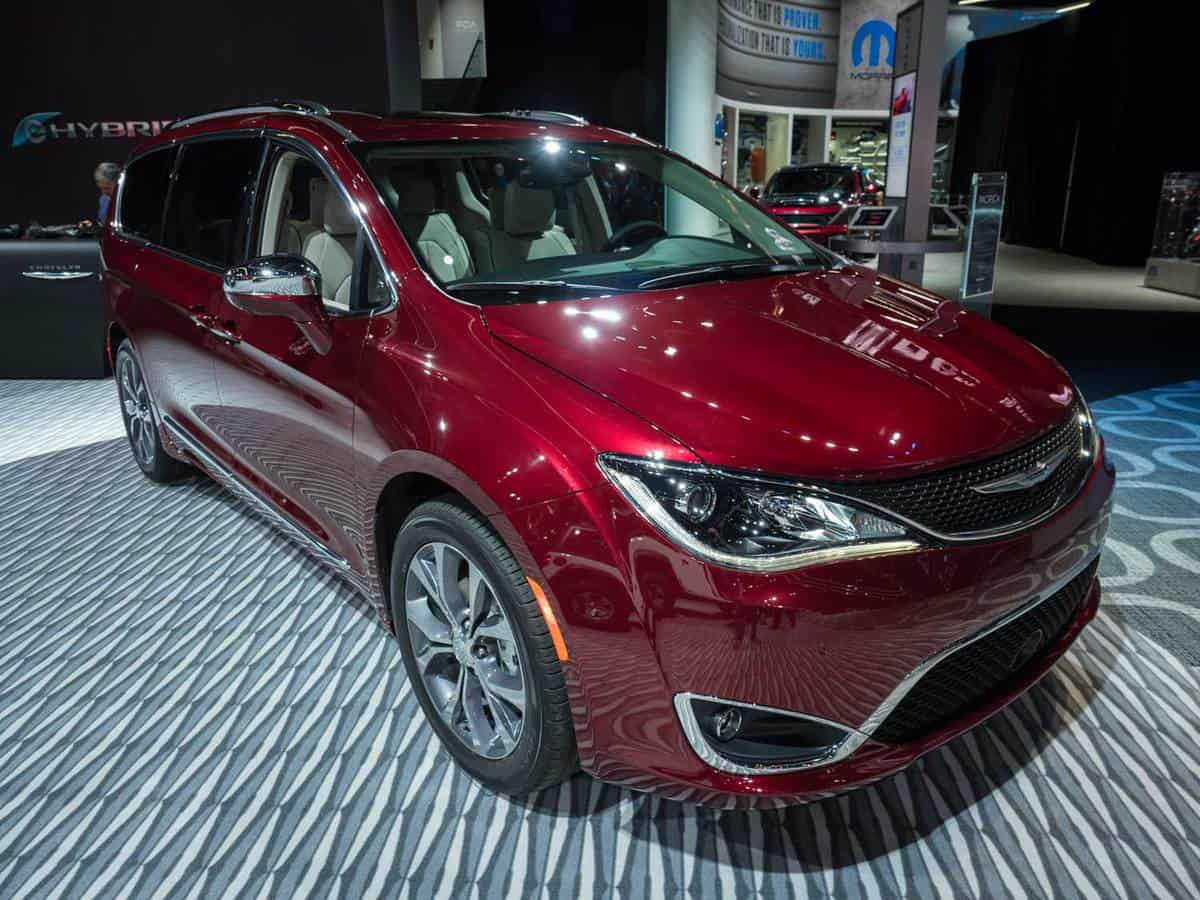 Stunning Red Chrysler Pacifica on display during the North American International Auto Show