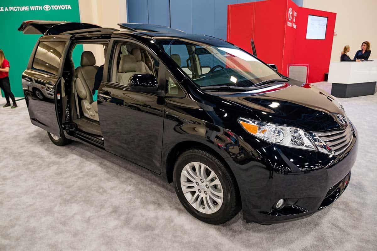 Black Toyota Sienna displayed during Auto Show