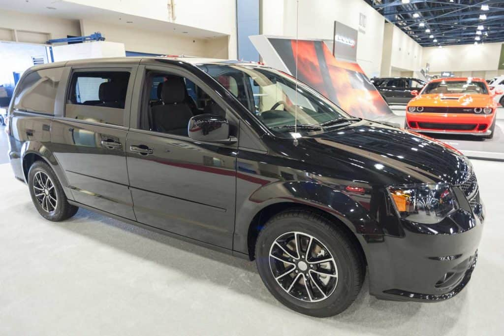 Dodge Grand Caravan mini van on display during the 2014 Charlotte International Auto Show at the Charlotte Convention Center