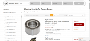 Auto Parts Warehouse website product page for Toyota Sienna parts