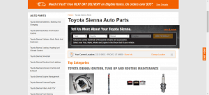 Auto Zone website product page for Toyota Sienna parts