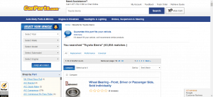 Car Parts website product page for Toyota Sienna parts