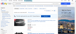 eBay website product page for Toyota Sienna parts