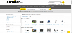 eTrailer website product page for Toyota Sienna parts
